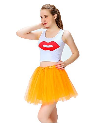 JINGBU Falda tut elstica de 4 Capas de tut para Mujer | Faldas Coloridas para Correr | Talla nica - Naranja - Talla nica