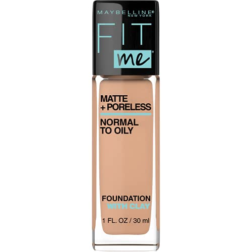 Maybelline Fit Me Matte + Poreless Liquid Foundation Makeup, Sun Beige, 1 fl; oz; Oil-Free Foundation