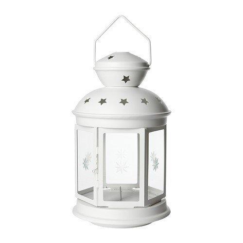 2 farolillos Xivea ROTERA para velas de candelabro, color blanco, 38 cm