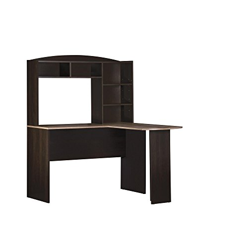 Ameriwood Home Dakota Space Saving L Desk with Hutch Espresso/Rustic Medium Oak