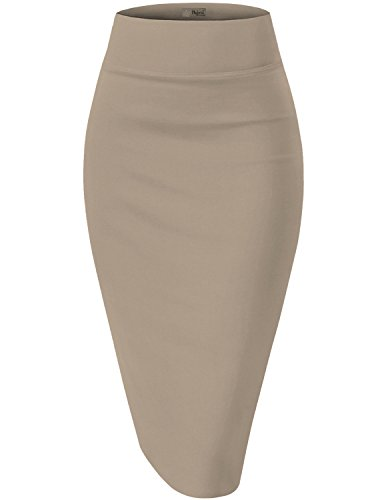 Womens Premium Stretch Office Pencil Skirt KSK45002X 1073T Beige/Khak 2X