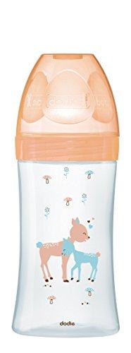 Dodie - Flasche Glas Initiation+ 270 ml Beige Reh 0-6 Monate, Flacher Sauger Flussrate 2, mehrfarbig, 6008148