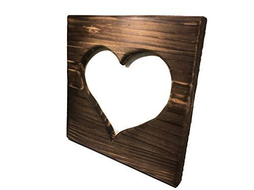 Cornice portafoto in legno a forma di cuore, decorazione per la casa, stile originale, naturale, vintage