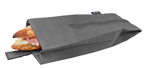 NERTHUS Bolsa para Bocadillo Reutilizable Gris, ecológica, Adaptable, facil de Limpiar y Apta para Lavadora, 10,5x10,5x30 cm