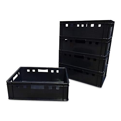 5 Stück E2 Kisten 60x40x20 cm Fleischkiste Lagerkiste Metzgerkiste Eurobox schwarz