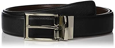 Perry Ellis Men's Portfolio Saffiano Reversible Belt, black/Brown, 36