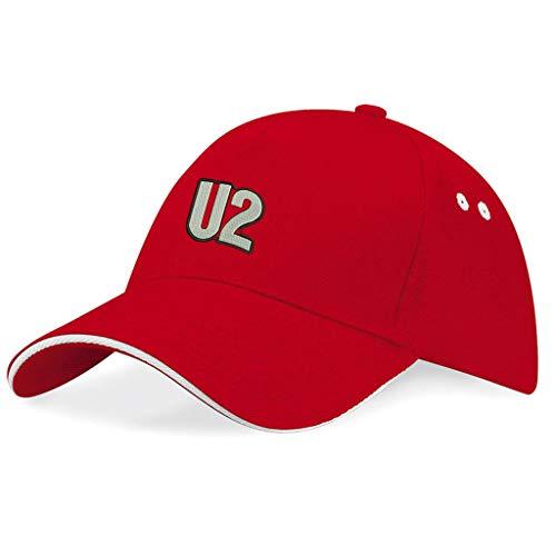 caprica91 U2 Rockband Bestickte Logo Baseball Cap Mütze — k166 — Rot
