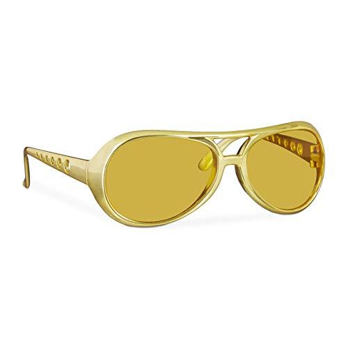Relaxdays 10024248 Rapper, lustige Rapper & Proll, Kostüm, große Zuhälter Brille für Karneval und Mottopartys, gold, Unisex– Erwachsene, Uni