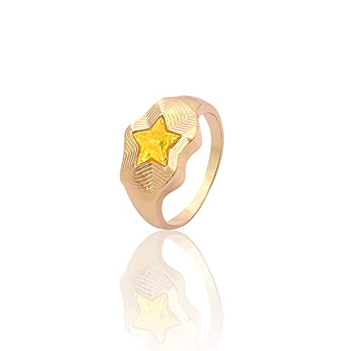 DGSDFGAH Ring For Women Yellow Cute Metal Ring For Men And Women Star Ring Party Jewelry Gift Jewelry