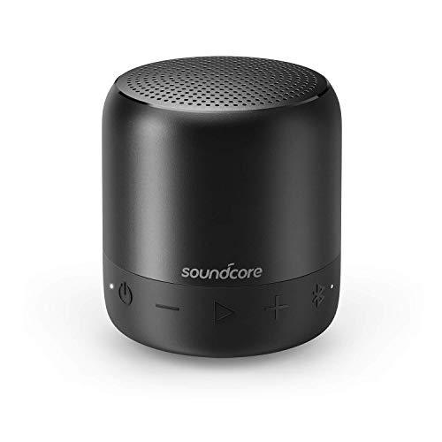 Soundcore Mini 2 Bluetooth Lautsprecher von Anker, mit Wasserschutzklasse IPX7, 15 Stunden Spielzeit, 20 Meter Bluetooth Reichweite und Starkem Bass (Schwarz) (Generalüberholt)