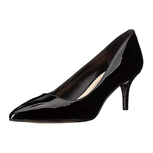 CosyFever Zapatos de Tacón Confort Sólido Parte Superior de Corte Bajo Puntera Cortada FDC00065 para Mujeres Charol Negro - 38 EU
