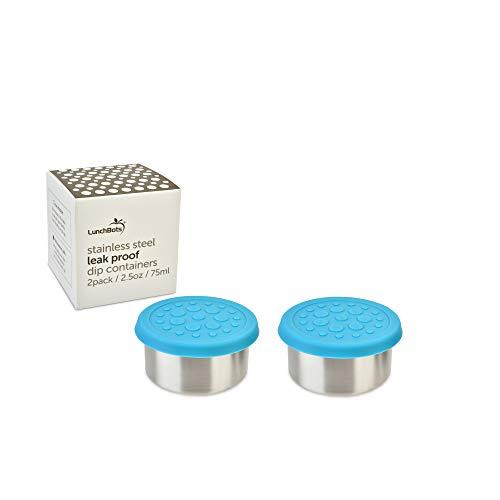 Mini-Behälter 2er-Set für Bento Box von LunchBots | Kleine Edelstahl Dosen 75ml mit auslaufsicherem Deckel für Dips, Dressings, Saucen und Gewürze | Lunchbox Zubehör | wasserblau
