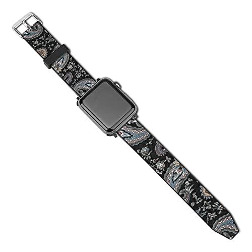 Correa de repuesto para reloj Apple Watch de 38 mm, 40 mm, correa de repuesto para iWatch Series 5/4/3/2/1, Henry Paisley negro