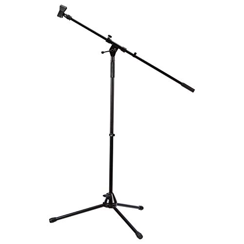 AmazonBasics Tripod Boom Microphone Stand - Height-Adjustable with Metal Base - 3.3 - 5.6-Foot, with Clothespin Mic Clip