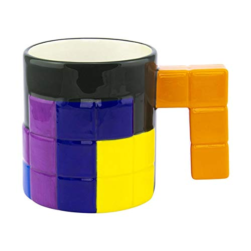 Paladone Tetris Tasse 3D Bausteine - dunkelgrün/weiß/Multicolor, 100% Keramik, Fassungsvermögen ca. 400 ml.