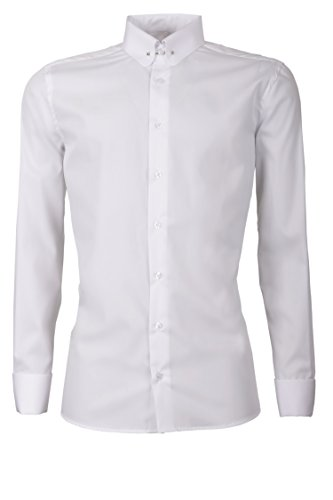 Schaeffer Hemd Slim Fit Uni weiß Piccadilly Kragen/Pin Collar