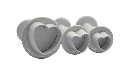 DeColorDulce Coeurs Petits Set emporte-pièces avec éjecteur, Blanc, 28 x 10 x 5 cm, Lot de 3
