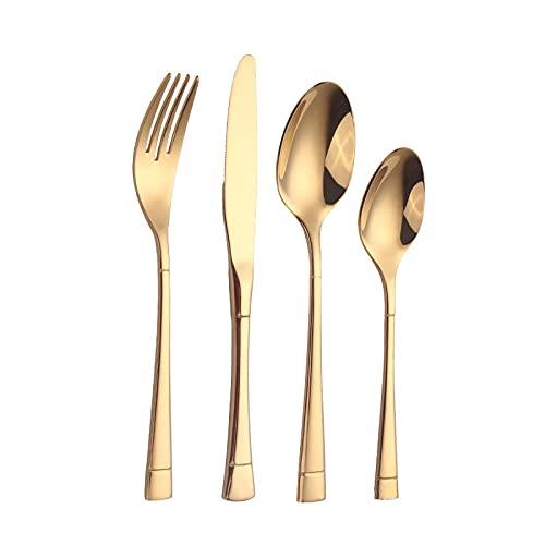 OUDEING Juego De Cubiertos De Cocina,304 Cubiertos de Acero Inoxidable, Conjunto de Cubiertos, 24 Piezas, Servicio para 6-Dorado 24pcs