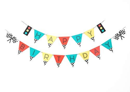 Vintage Race Car- Birthday Banner | Happy Birthday | Banner | Sign | Birthday Decoration | Race Car Party | Boy Birthday Party Decorations | Kids Party | Checkered Banner | Modern Kids Party