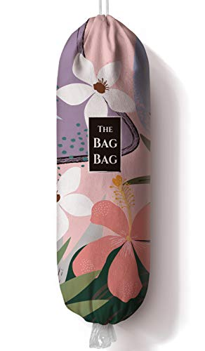 Flower Pattern Grocery Bag Storage Holder Grocery Shopping Bags CarrierPlastic Bag Dispenser Organizer Recycling Grocery Pocket Containers for Home and KitchenGifts for Family23x9 inch