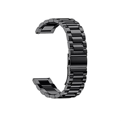 LLKHFA Correa de Acero Inoxidable milanesa para Xiaomi Amazfit BIP U S GTS 2 Mini 2e GTR 2 4 7mm 42mm Stratos 3 WheamBand 20mm 22mm Watch Band (Color : Black, Size : 20mm Universal)