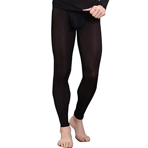 iEFiEL Herren Legging Leggin Lange Unterhose Longjohns Underwear Unterwäsche mit Transparent Effekt (M, Schwarz)