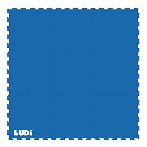 LUDI – Tapis de Sol sécurisant 145 x 145 cm. Lot de 9 Dalles à encastrer. Amortit Les Chocs, évite Les dérapages. A Installer sous Les piscines et Aires de Jeu en intérieur ou en extérieur - 90007