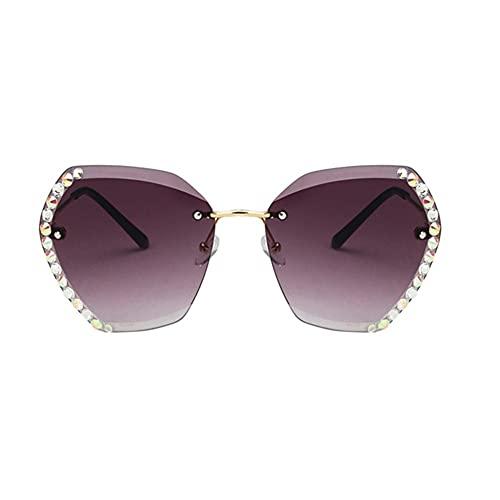 XCSM Gafas de Sol para Mujer Lentes de Corte de Diamantes de Diamantes de imitación sin Montura de Gran tamaño Gafas de Sol con gradiente UV400 Gafas Playa Vacaciones Fiesta Moda Anteojos Grandes
