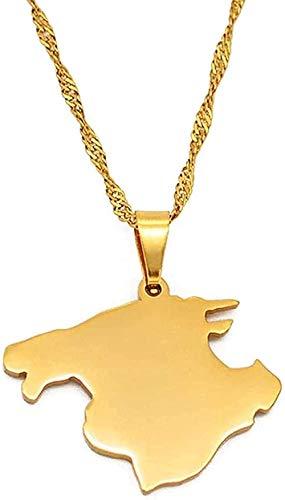 ZGYFJCH Co.,ltd Collar Mallorca españa Mapa Colgantes Collares Cadenas de Color Oro joyería