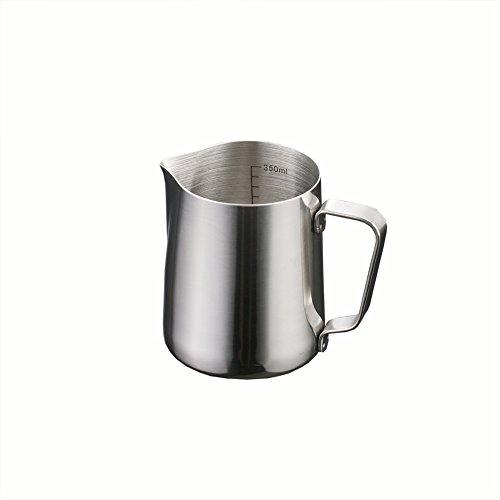 Skyeye Pichet à lait en acier inoxydable, 350 ml, pot à lait en forme de fleur en acier inoxydable pour lait, latte, cappuccino, moka