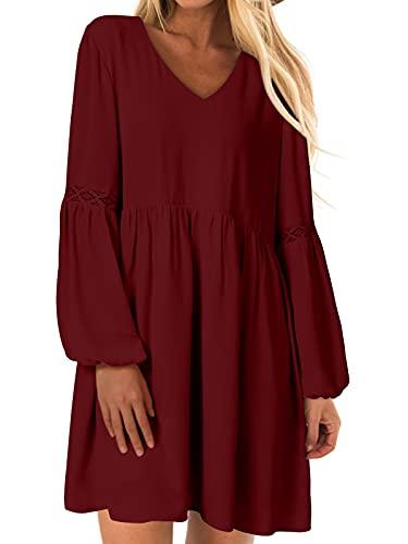YOINS Sexy Kleid Damen Sommerkleid für Damen Babydoll Kleider Brautkleid Tshirt Kleid Rundhals Langarm Minikleid Langes Shirt Lose Tunika Strandkleid Baumwolle-rot XXL