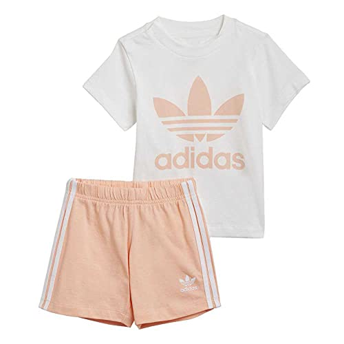 adidas GN8192 Short tee Set Body Unisex-Baby Top:White/Glow Pink Bottom:Glow Pink f19/white 6-9M