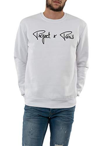 Project X Paris Unisex Sweatshirt Logo mit Kontrast Gr. Small, weiß