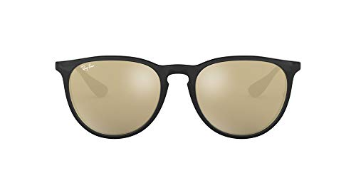 Ray-Ban RB4171 Erika Round Sunglasses, Black/Gold Mirror, 54 mm
