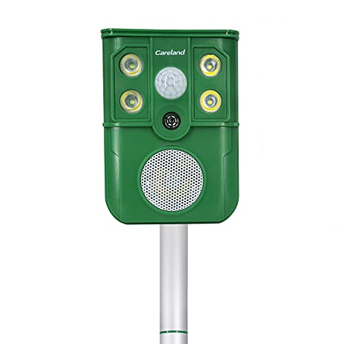 Careland Solar Powered Animal Repeller Ultrasonic Animal Repellent with Motion Sensor & Flashing Light Simulate Dog Barking, Gunshot and Eagle Barking to Scare Away Animals from Your Lawn & Garden