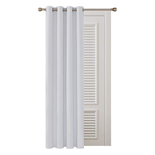 Deconovo Cortinas Térmicas Aislantes Luz Decoración para Ventanas de Habitación Moderna 1 Pieza con Ojales 132 x 183 cm Gris Blanco