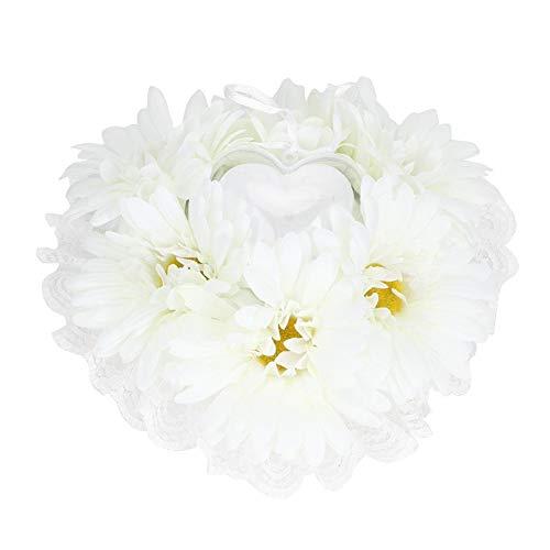 Redxiao 【𝐕𝐞𝐧𝐭𝐚 𝐑𝐞𝐠𝐚𝐥𝐨 𝐏𝐫𝐢𝐦𝐚𝒗𝐞𝐫𝐚】 Almohada de Anillo Blanca de 7.5x7.5in, cojín de Anillo portátil de Moda, para Bodas en la Sala de Estar(White)