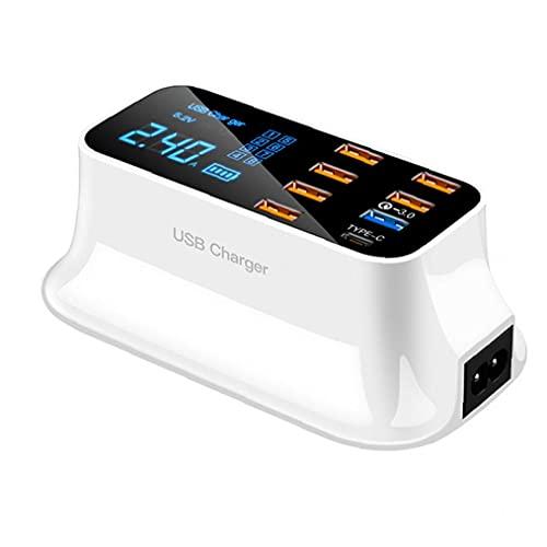CARGADOR RÁPIDO USB 8 Puertos Adaptador de la estación de carga rápida con la pantalla digital LED accesorios electrónicos