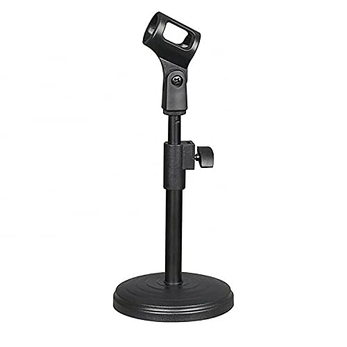 Desktop Microphone Stand Table Desk Mic Holder Stands Clip Holder Mount Clamp Round Base Podcast Recording 5Core MS RBS ⭐⭐⭐⭐⭐Ratings ✔️ Best Deal (Adjustable Height)