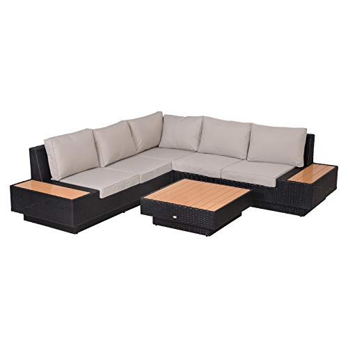 Outsunny 4 PCs Rattan Garden Furniture Outdoor Sectional Corner Sofa and Coffee Table Set Conservatory Wicker Weave Furniture with Armrest and Cushions - Black