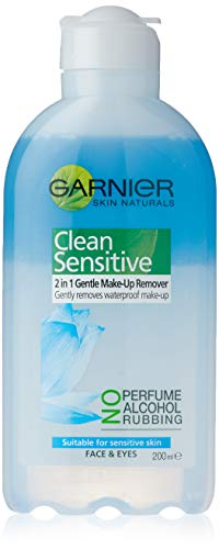 Garnier Clean Sensitive 2In1 Gentle Waterproof Make Up Remover 200ml