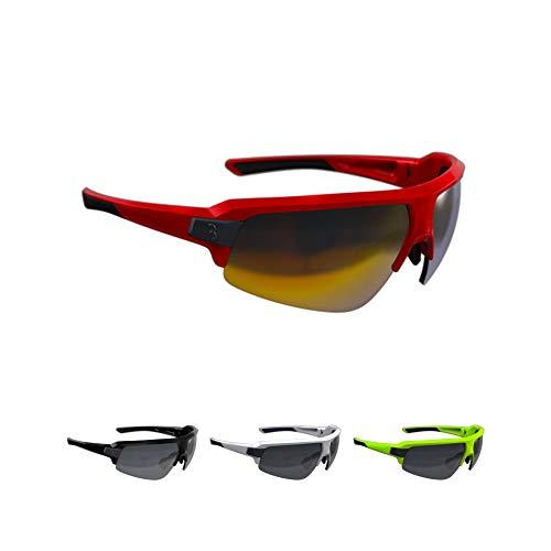 BBB Cycling Fahrradbrille Impulse | Herren und Damen Sportbrille Sonnenbrille Radsport | mit drei Wechselgläsern | Polycarbonat Grilamid | MTB Rennrad Urban | Glänzend Rot | BSG-62