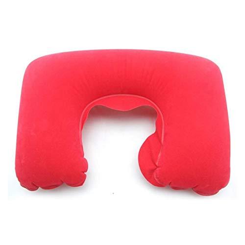 Acogedor 1 unid coche suave inflable cuello almohada descanso cojín u almohadas auto coche estilo accesorios de coche Camping vuelo viaje asiento de viaje soporte para asiento de coche ( Color : Red )