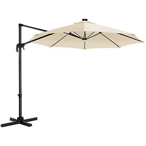 SONGMICS Sonnenschirm mit LED-Beleuchtung, Ampelschirm Ø 300 cm, Gartenschirm, UV-Schutz bis UPF 50+, um 360° drehbar, Neigungswinkel verstellbar, mit Kurbel und Ständer, beigeGPU038M01