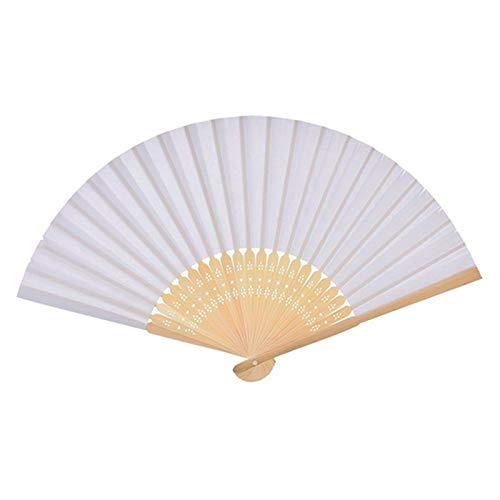 Bleyoum Abanico Plegable 50 Unids/Lote Abanico De Mano Vintage Blanco Plegable Elegante Abanico De Mano De Papel Favores De Fiesta De Boda Abanico De Baile De Mano 21cm