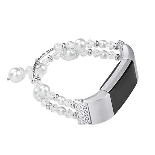 ibasenice für Fitbit Schüttung 2 Bänder-Frauen Perlenarmband Band für Fitbit Ladung 2 intelligente Uhr schönes Armband Geschenk für Frauen Mädchen Freundin intelligentes Armband Ersatz l