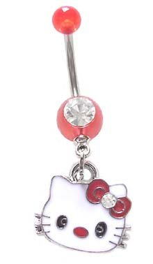 playful piercings Pretty Cute Red Hello Kitty Head Face Dangle Belly Button Navel Ring 14 Gauge