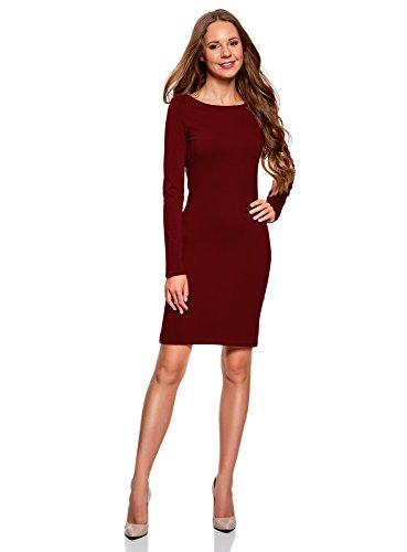 oodji Ultra Damen Enges Kleid Basic, Rot, DE 34 / EU 36 / XS