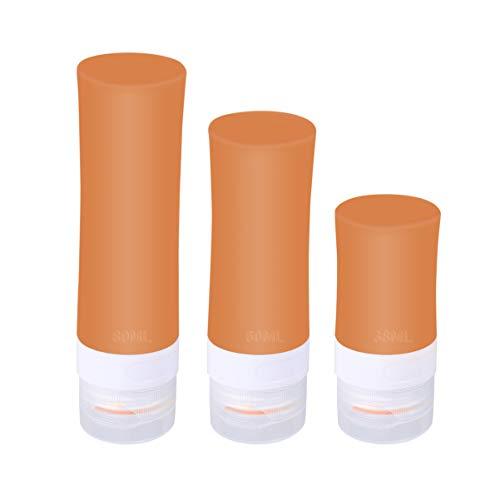 TENDYCOCO 3 Pcs Vide Voyage Bouteille Silicone en Plastique Portable Bouteille Conteneurs Lotion Vaporisateur (38 ML 60 ML 80 ML Orange)