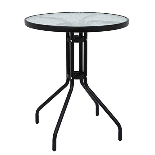 DIMAR GARDEN Outdoor Coffee Table, Patio Round Table, Metal Frame Tempered Glass Table (Round)
